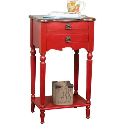 Lewisville End Table Color: Red / Light Brown