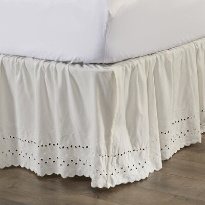 Nayara Eyelet Extra Long 145 Thread Count Bed Skirt Size: Queen, Color: White