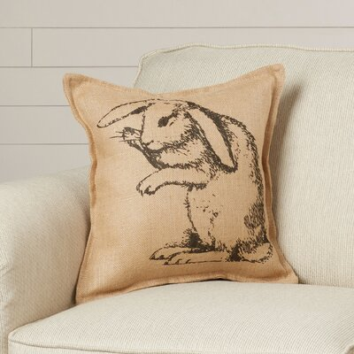 Clyde Bunny Burlap Throw Pillow
