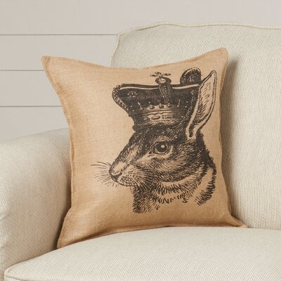 Hamilton Bunny with Crown Burlap Throw Pillow