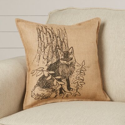 Christie Raccoon Burlap Throw Pillow