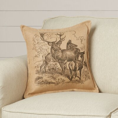 Eddie Deer Family Burlap Throw Pillow