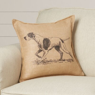 Rolling Hills Dog Burlap Throw Pillow