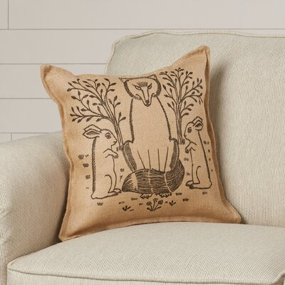 Sophia Woodland Fox Burlap Throw Pillow