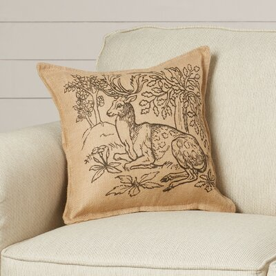 Glenrock Woodland Deer Burlap Throw Pillow
