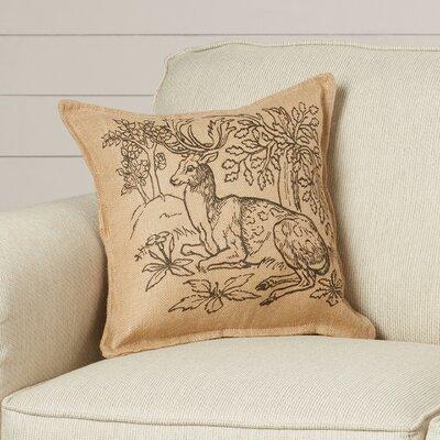 Glenrock Woodland Deer Burlap Throw Pillow