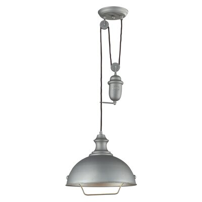 Rodriques 1-Light Metal Bowl Pendant Finish: Aged Pewter