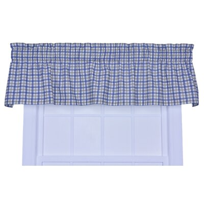 Leo Plaid Window 70 Curtain Valance Color: Blue