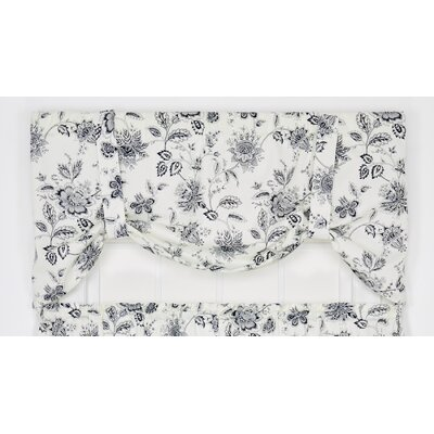 Hawthorn Floral Print Tie-Up 60 Curtain Valance Color: Navy