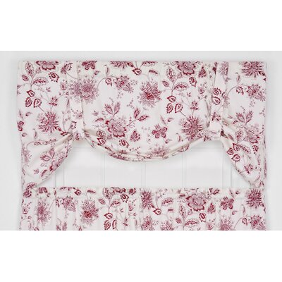 Hawthorn Floral Print Tie-Up 60 Curtain Valance Color: Red