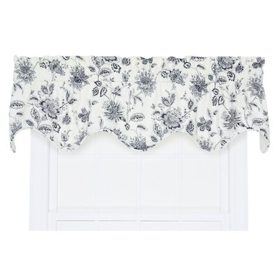 Hawthorn Floral Scallop 70 Curtain Valance Color: Navy