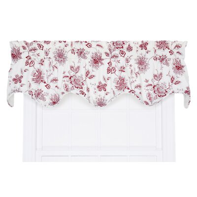 Hawthorn Floral Scallop 70 Curtain Valance Color: Red
