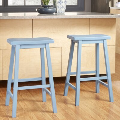 Elise 29 inch Saddle Bar Stool Finish: Blue