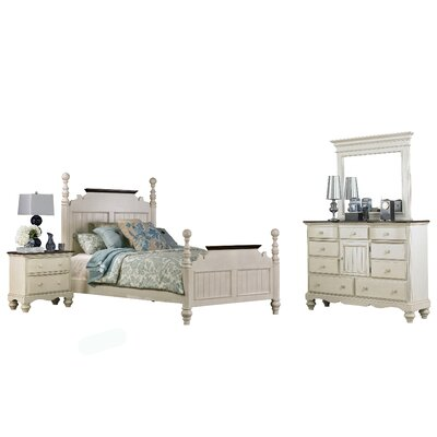 Alise Panel Bed Size: King, Color: Old White