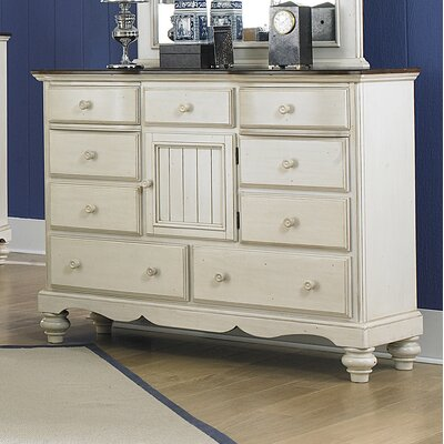 Mertie 9 Drawer Combo Dresser Finish: Old White