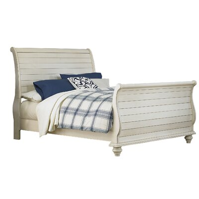 Alise Sleigh Bed Size: King, Color: Old White