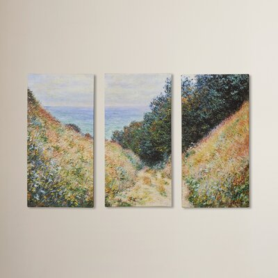'Footpath' by Claude Monet 3 Piece Painting Print on Canvas Set