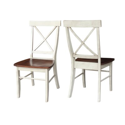 Sawyer Cross Back Side Chair Finish: Antiqued Almond/Espresso