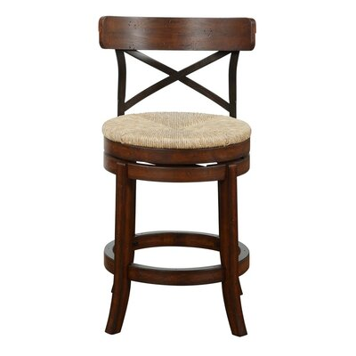 Jacklyn 24 Swivel Bar Stool Finish: Mahogany