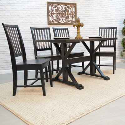 Alene 5 Piece Dining Set Color: Black