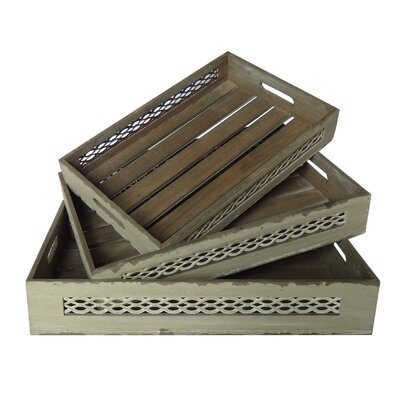 3 Piece Wooden Tray with Wire Sides and Slatted Base Set