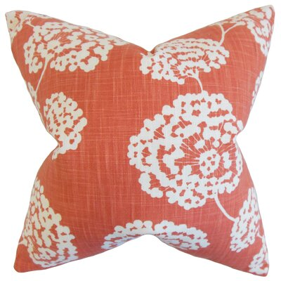 Paula Floral Cotton Throw Pillow Color: Coral, Size: 18 x 18