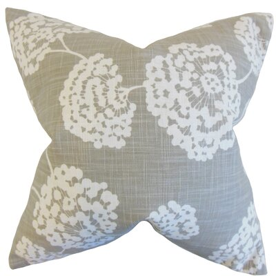 Paula Floral Cotton Throw Pillow Color: Light Grey, Size: 18 x 18