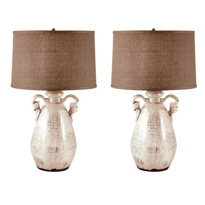 Lila Twisted Handle Terra Cotta 26 Table Lamp Set