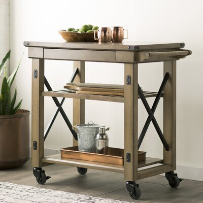 Gladstone Kitchen Island with Wooden Top Finish: Light Brown