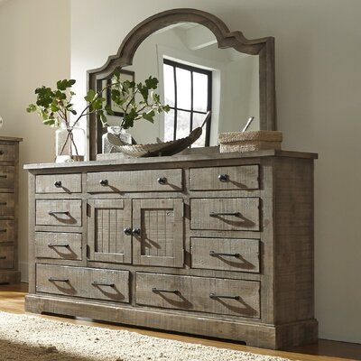 Burford 9 Drawer Combo Dresser with Mirror