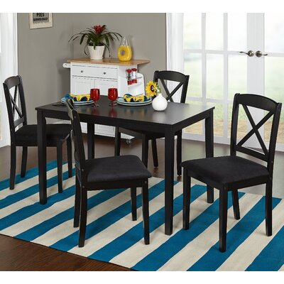 Scarlett 5 Piece Dining Set Color: Black