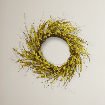 Golden Forsythia Wreath Size: 22