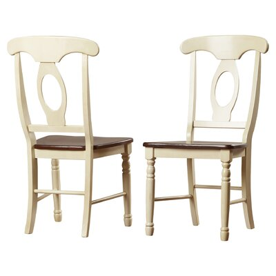 Buena Solid Wood Dining Chair (Set of 2) Finish: Merlot / Buttermilk