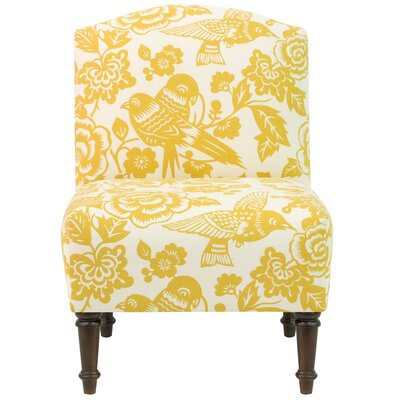 Springdale Camel Back Slipper Chair Upholstery: Canary Maize, Nailhead Detail: No Trim