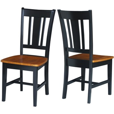 Malcolm Slat Back Solid Wood Dining Chair Finish: Black/Cherry