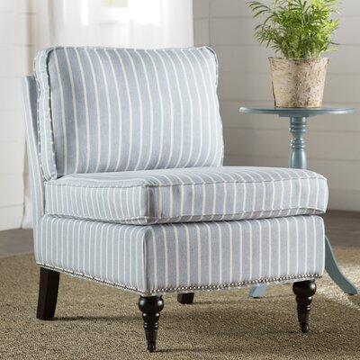 Armless Slipper Chair Upholstery: Blue/White