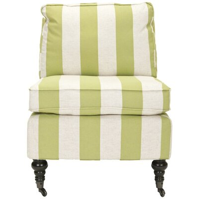 Armless Slipper Chair Upholstery: Multi Stripe Kiwi, Nailhead Detail: No