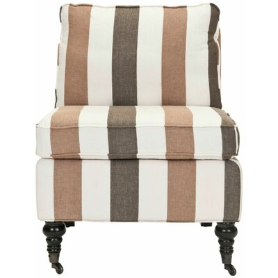 Armless Slipper Chair Upholstery: Multi Stripe Brown