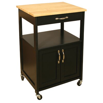 Allie Kitchen Cart with Wood Top Finish: Black