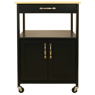 Allie Kitchen Cart with Wood Top Color: Black