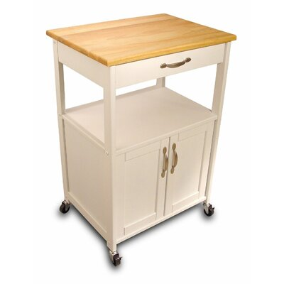 Allie Kitchen Cart with Wood Top Finish: White