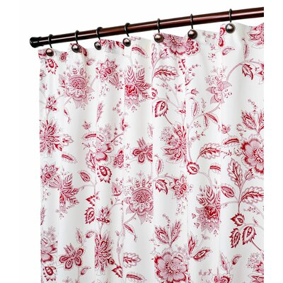 Hawthorn Floral Print Shower Curtain Color: Red