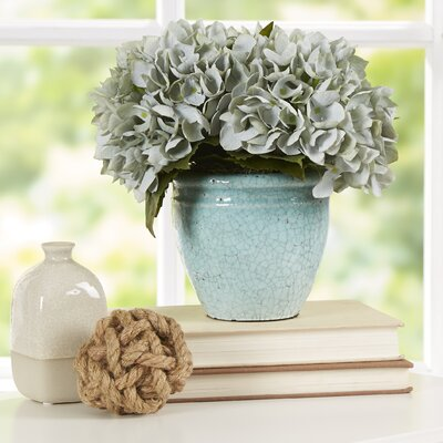 Blue Sea Foam Hydrangea Bouquet in Rustic Pot