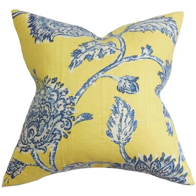 Filomena Floral Throw Pillow Cover Color: Blue Yellow