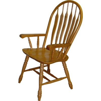 Malaysian Oak Windsor Back Solid Wood Dining Chair Finish: Rich Honey Light Oak
