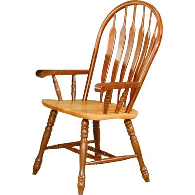Malaysian Oak Windsor Back Solid Wood Dining Chair Finish: Nutmeg / Rich Honey Light Oak