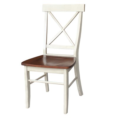 Sawyer Cross Back Solid Wood Dining Chair Color: Antiqued Almond/Espresso