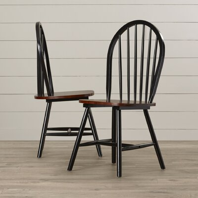 Berene Solid Wood Dining Chair Side Chair Finish: Black / Cherry