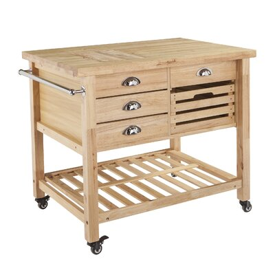 Ellisville Kitchen Cart with Wood Top