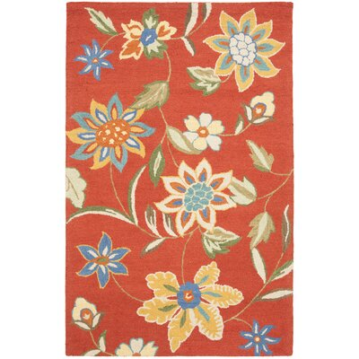 Canon Hand-Hooked Rust Area Rug Rug Size: 5 x 8